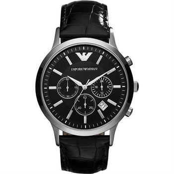 ARMANI 優質型男三眼皮帶腕錶-黑/44mm AR2447