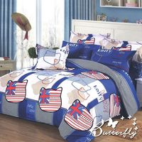 BUTTERFLY 柔絲絨單人薄床包 單件含枕套 ~英倫凱蒂 ^#45 藍~