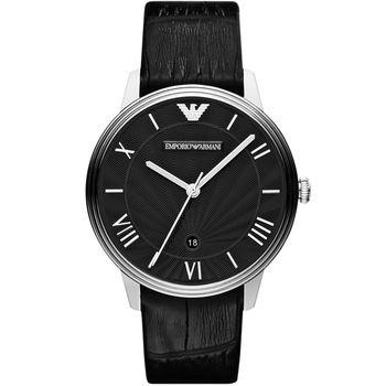 ARMANI 雅典時尚石英腕錶-黑/41mm AR1611