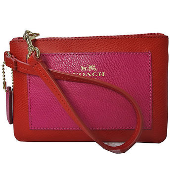 COACH紅色拼接前桃紅口袋防刮全皮萬用手拿包