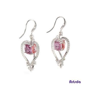 Artsda 三色尖晶石鑽石耳環(六顆尖晶石,18K金,W設計系列#3)