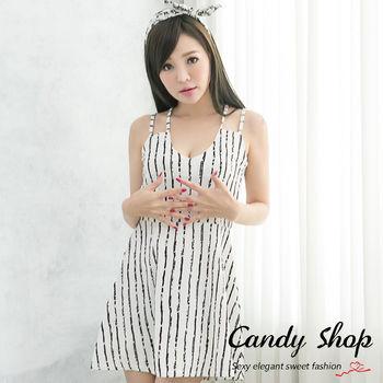 Candy小舖 新品特色款 甜美性感低胸條紋下擺傘狀設計洋裝(白/黑/紅)3個色-0097822