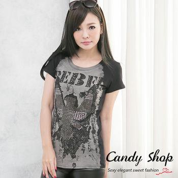 Candy小舖 新品特色款個性風大塗鴉鉚釘設計款T-shirt(灰/黑)兩色-0097797