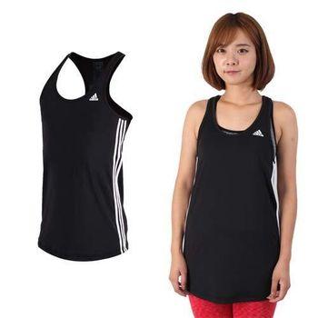 【ADIDAS】女運動背心-挖背背心 無袖 慢跑 路跑 瑜珈 愛迪達 黑白  吸濕快乾設計