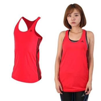 【ADIDAS】女運動背心-挖背背心 無袖 慢跑 路跑 瑜珈 愛迪達 紅黑  吸濕快乾設計