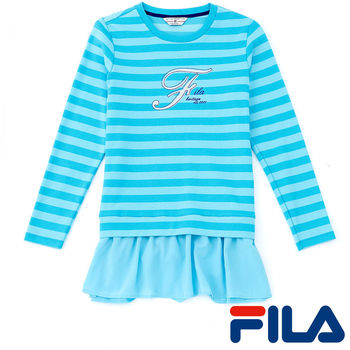 FILA女性假兩件式條紋上衣(湖水藍)5TEP-5422-TQ