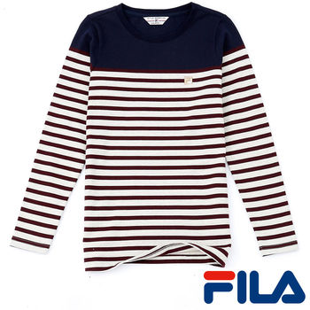 FILA女性經典條紋上衣(學院藍)5TEP-5709-NV