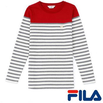 FILA女性經典條紋上衣(雅緻紅)5TEP-5709-RD