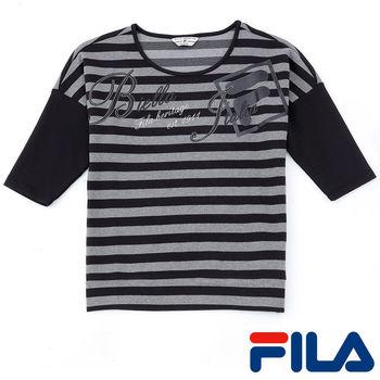 FILA女性條紋七分袖上衣(時尚黑)5TEP-5421-BK