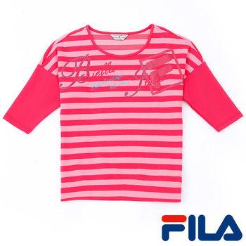 FILA女性條紋七分袖上衣(蜜桃粉)5TEP-5421-PC