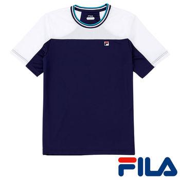 FILA男仕吸濕排汗抗UV拼色上衣(躍動藍)1TEP-5001-DB