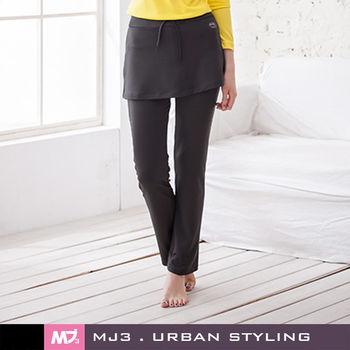 【MJ3】假兩件小直筒連裙長褲-女(潮深灰)