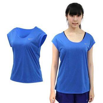 【NIKE】女短袖針織衫 -T恤 短T 路跑 慢跑 水藍銀  100%聚酯纖維