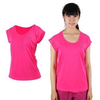 【NIKE】女短袖針織衫 -T恤 短T 路跑 慢跑 螢光粉  100%聚酯纖維