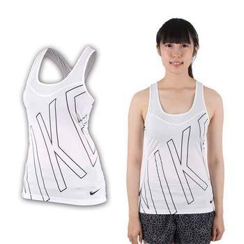 【NIKE】女針織背心-運動背心 無袖 挖背背心 慢跑 路跑 瑜珈 白黑  背部洞洞設計