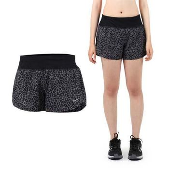 【NIKE】女運動短褲 -梭織 慢跑 路跑 黑銀  內附底褲