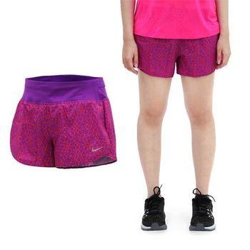 【NIKE】女運動短褲 -梭織 慢跑 路跑 紫橘  內附底褲