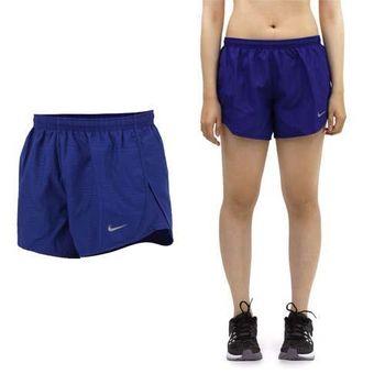 【NIKE】女運動短褲 -梭織 慢跑 路跑 深藍銀  吸濕排汗設計