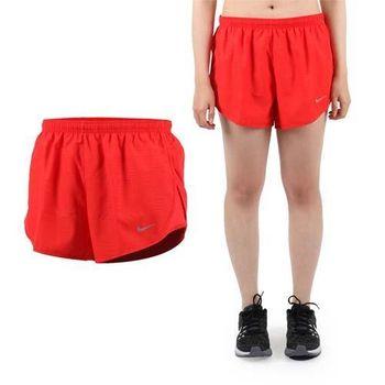 【NIKE】女運動短褲 -梭織 慢跑 路跑 紅銀 吸濕排汗設計
