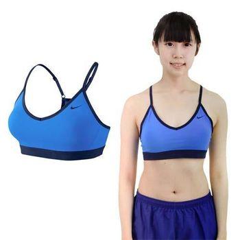 【NIKE】女緊身服 -慢跑 路跑 運動內衣 健身 寶藍黑  可拆式襯墊