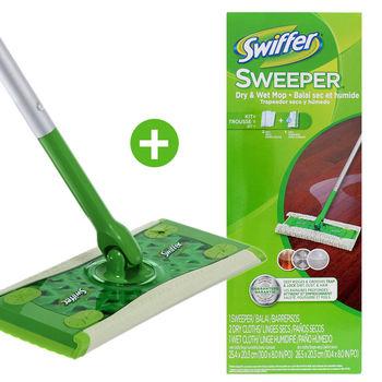 【美國 Swiffer】乾濕兩用拖把組 (拖把x1+乾式除塵紙x2+濕拖巾x1)