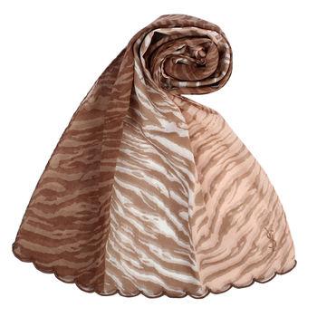 YSL 法式漸層斑馬紋薄棉圍巾-咖啡色