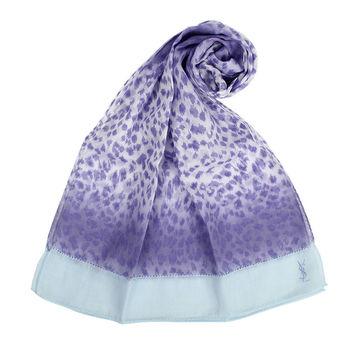 YSL 法式漸層豹紋薄棉圍巾-淺紫色