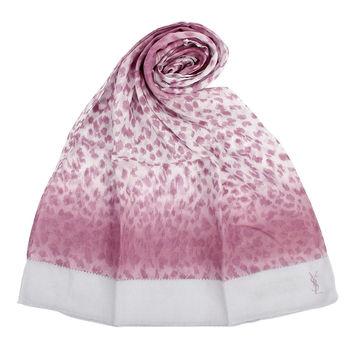 YSL 法式漸層豹紋薄棉圍巾-紫紅色