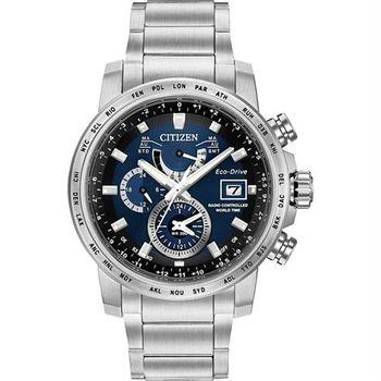 CITIZEN 星辰 光動能電波萬年曆腕錶-藍x銀/43mm AT9070-51L