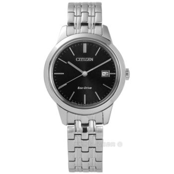 CITIZEN 星辰表★贈皮錶帶 / EW2230-81E / 簡約美譽日期光動能不鏽鋼手錶 黑色 28mm