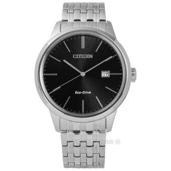 CITIZEN 星辰表★贈皮錶帶 / BM7301-57E / 簡約美譽日期光動能不鏽鋼手錶 黑色 40mm