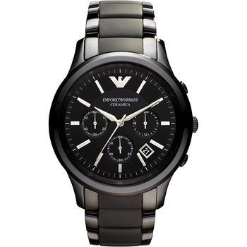 ARMANI 經典時尚陶瓷計時腕錶-黑/43mm AR1452