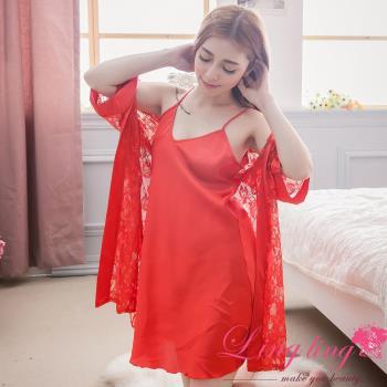 lingling日系 全尺碼-緞面細肩睡裙+蕾絲花網罩衫睡袍二件式睡衣組(熱情紅)A2901-03