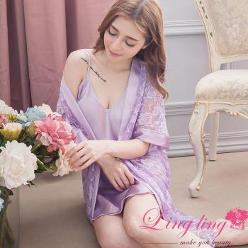 lingling日系 全尺碼-緞面細肩睡裙+蕾絲花網罩衫睡袍二件式睡衣組(浪漫淺紫)A2901-01