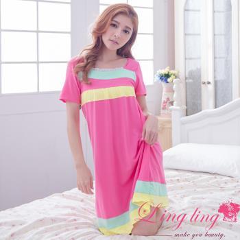lingling日系 全尺碼-撞色橫紋牛奶絲短袖連身裙睡衣(活力桃粉)A2874-01