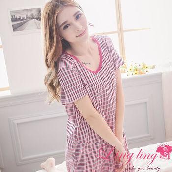 lingling日系 大尺碼-棉質橫條紋短袖連身裙睡衣(浪漫紫粉)A2968-01
