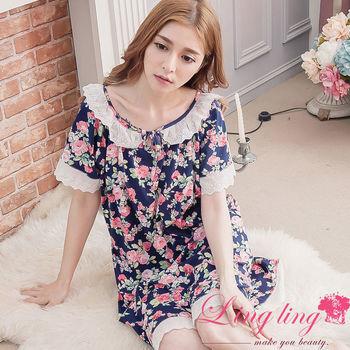 lingling日系 大尺碼-布蕾絲玫瑰花短袖連身裙睡衣(氣質深藍)A2936-01