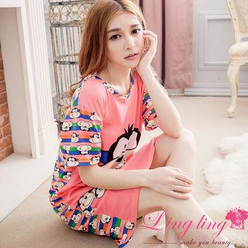 lingling日系 全尺碼-多彩猴子牛奶絲短袖連身裙睡衣(元氣深粉)A2904-01
