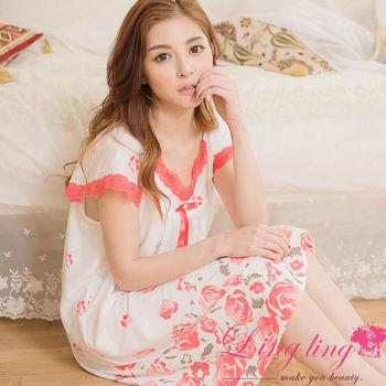 lingling日系 大尺碼-牛奶絲玫瑰印花滾邊蕾絲短袖連身裙睡衣(珊瑚紅)A2885-02