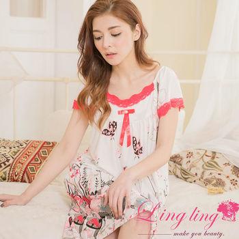 lingling日系 大尺碼-牛奶絲日式印花滾邊蕾絲短袖連身裙睡衣(珊瑚紅)A2884-02