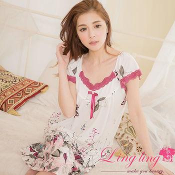 lingling日系 大尺碼-牛奶絲日式印花滾邊蕾絲短袖連身裙睡衣(魅力紫藕)A2884-01