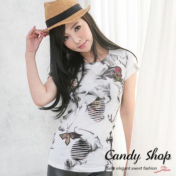 Candy小舖 新品特色款個性刷破風格獨特渲染設計T-shirt(黑/白)2色