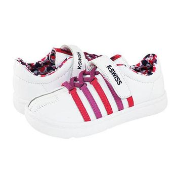 K-Swiss Classic VLC 經典休閒鞋-童-白/粉紅/紫