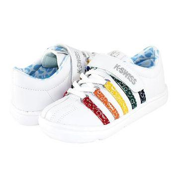 K-Swiss CHK122復刻休閒鞋-童-白/彩虹