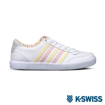 K-Swiss Court Lite輕量休閒鞋-女-白/淺粉/淺黃