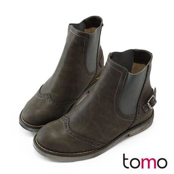 【TOMO】皮革雕花後釦環低跟短靴【K137BEJ009】