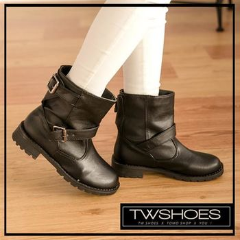 【TOMO】造型雙扣皮帶低跟中筒機車靴【K117B3129】