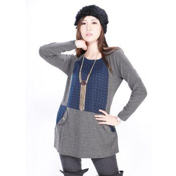 JOYJOY輕羊毛拼接設計洋裝上衣