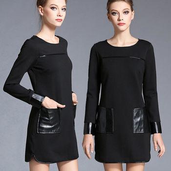 【麗質達人中大碼】仿皮拼接洋裝(XL-5XL)