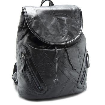 Uni Bag 真皮包 大和時代羊皮批接真皮後背包 經典黑